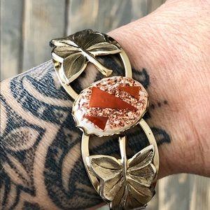Vintage Hinged Gold Lucite Center Bracelet